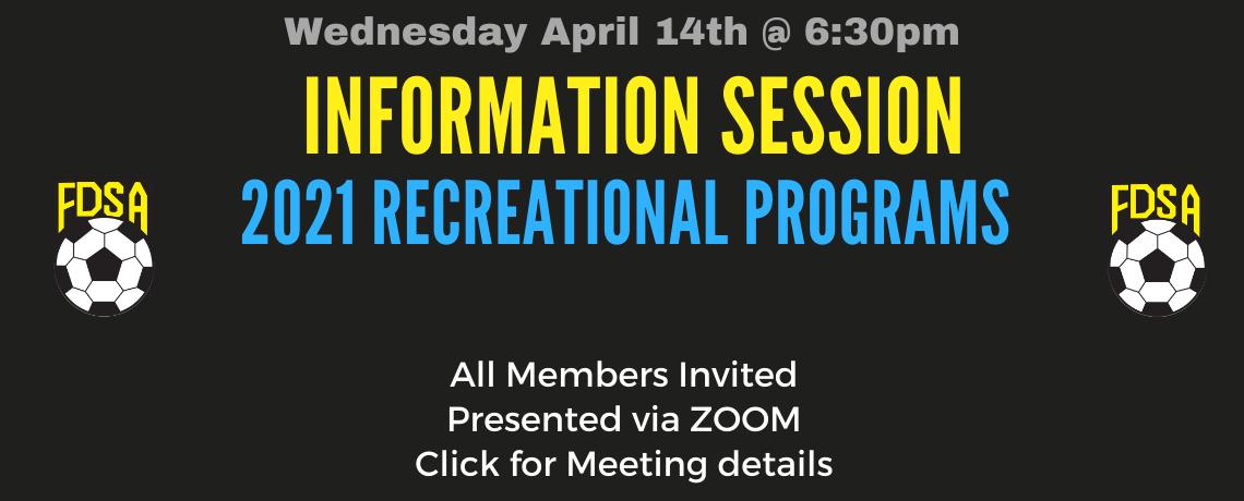 FDSA Hosting Recreational Information Session Wed April 14th 6:30pm
