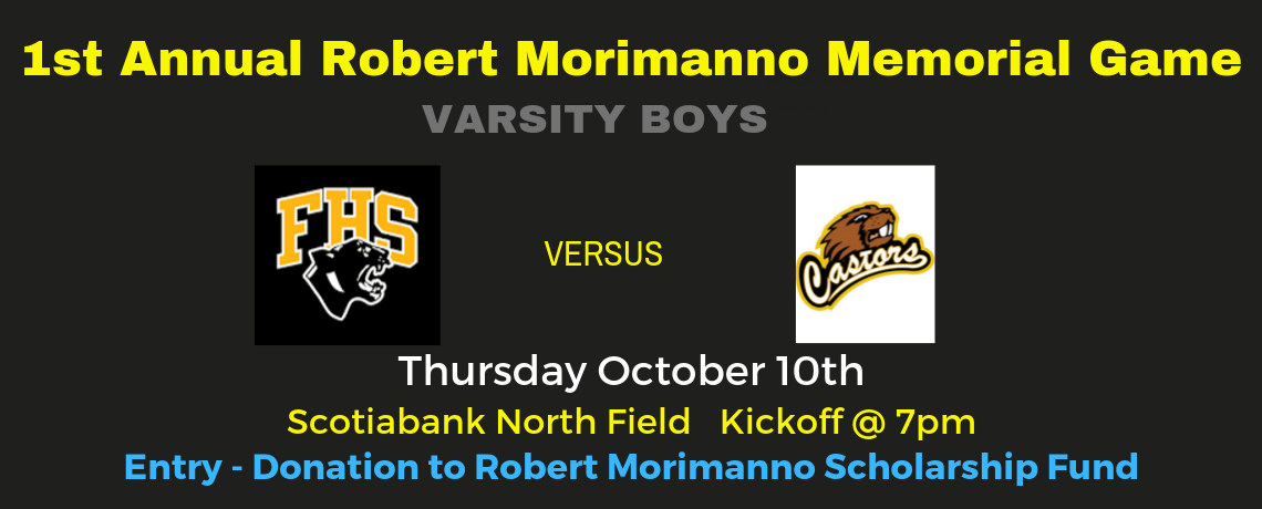 FHS to host ESA in Robert Morimanno Memorial game Oct 10th @ Scotiabank North Field